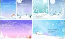 冬季雪景风景矢量图