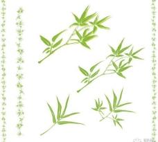 竹子叶边框矢量图