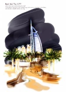 迪拜夜色PSD插画设计