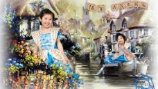 水乡河流童话儿童写真PSD模板