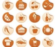 美食类卷角图标矢量素材