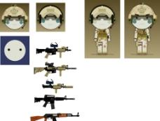 卡通小人枪支源文件图片