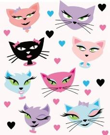 卡通猫头图片