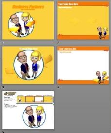 卡通男女黄色背景PPT模板