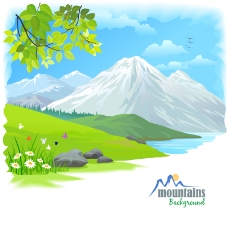卡通雪山自然风景矢量图