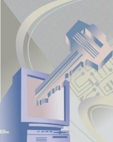 动感线条钥匙电脑科技背景图片