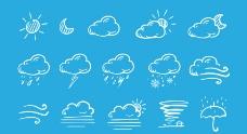 手画风格的天气图标图片