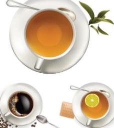 浓郁咖啡馨香茶饮矢量图  AI