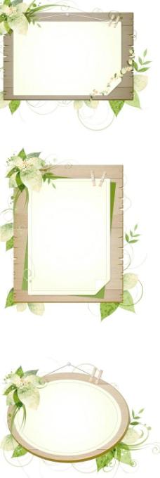 绿色植物装饰木板边框矢量图