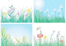 春姿绽放春天花草矢量素材