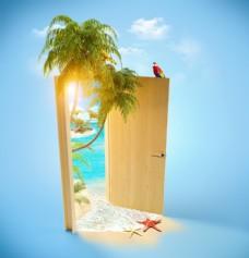 椰子树大门夏季旅游广