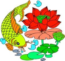 中国元素圆形荷花鲤鱼图