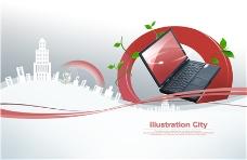 紅色圈電腦創意商務科技