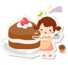 制作蛋糕的围裙女生