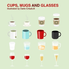 卡通杯子设计矢量