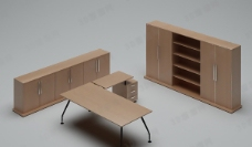 3D办公桌模型