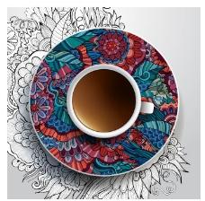 彩绘的咖啡杯