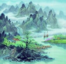 房子远山中国画
