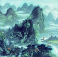 中国画山水房子远山