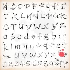 在矢量书法风格的字母