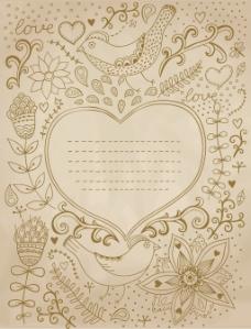 旧货复古背景与花饰和心脏中你可以设计卡