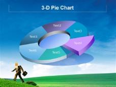 蓝色天空经济饼图ppt模板
